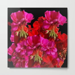 Red & Fuchsia Geranium flowers Metal Print