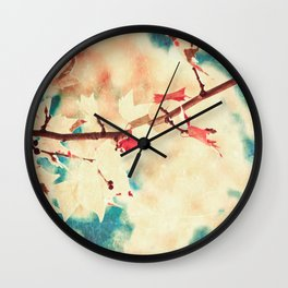 Autumn (Leafs in a textured and abstract sky) Wall Clock