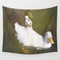 ducks Wall Tapestries featuring Two Ducks by Victoria Herrera