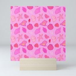 Simply Seashells Toss in Tonal Pink Mini Art Print
