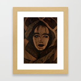Fantasy wood face woman marquetry Framed Art Print