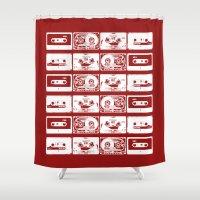cassette Shower Curtains featuring RED CASSETTE by SUNNASAVITA