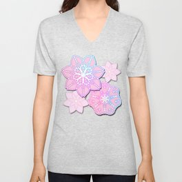 Abstract Lotus Flower Unisex V-Neck