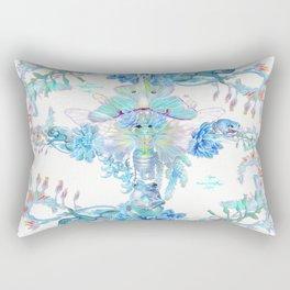 Aqua Chalcedony Luna Moth Succulent Floral Rectangular Pillow