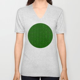 Binary numbers pattern in green Unisex V-Neck