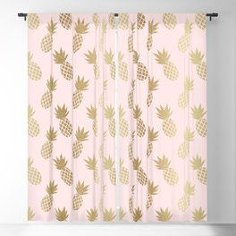Pink & Gold Pineapples Blackout Curtain