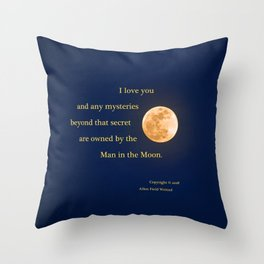 """""""January Blue Moon"""" with poem: Any Mysteries Throw Pillow"""