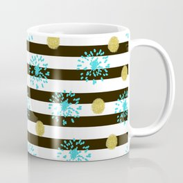 A festive mood. Striped background black and white with blue fireworks and Golden peas . Coffee Mug