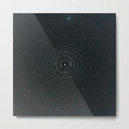 Space Maze Cyan Metal Print