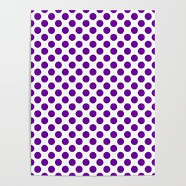 Purple and white polka dots pattern Poster