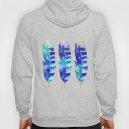 Blue Turquoise Watercolor Feather Art Hoody