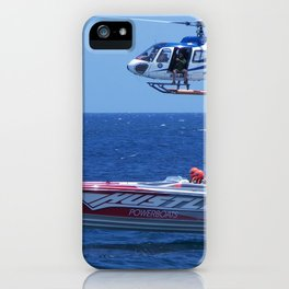 Powerboat And Helicopter iPhone Case