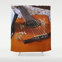 Book and guitar by Giada Ciotola Shower Curtain