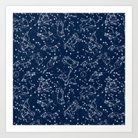 Constellations animal constellations stars outer space night sky pattern by andrea lauren Art Print