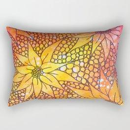 Black flowers on neon painting Rectangular Pillow