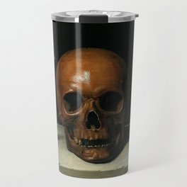 Life, Death, & Time; still life portrait painting with a Skull and Tulip by Philippe de Champaigne Travel Mug