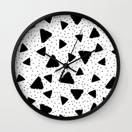 Modern black white hand painted polka dots triangles Wall Clock