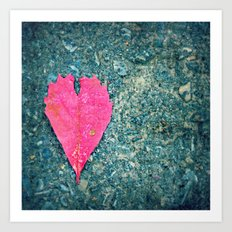 Heart Leaf Fall Photography Autumn Nature Photography Love  Art Print