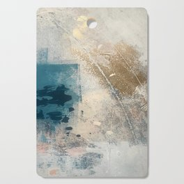 Embrace: a minimal, abstract mixed-media piece in blues and gold with a hint of pink Cutting Board