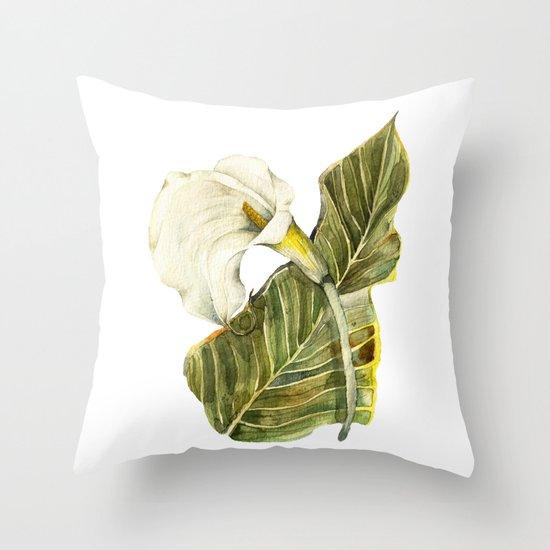 White Calla Lily Throw Pillow