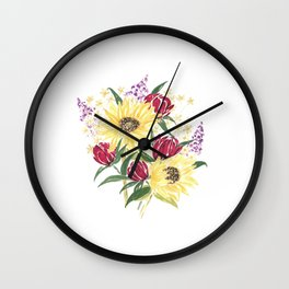 'Manchester' Floral Watercolor Artwork -- BiotaDrawings Wall Clock