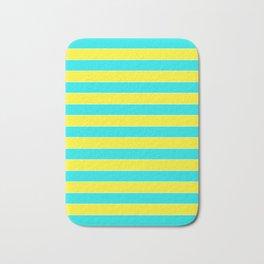 Yellow blue striped pattern Bath Mat