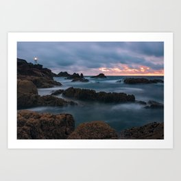 Foggy Corbiere Lighthouse in Jersey Art Print