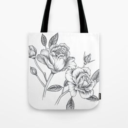Twin Roses Inked Drawing Tote Bag
