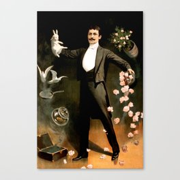 Vintage Rabbit Doves and Magician Canvas Print