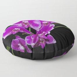 Graceful spray of deep pink orchids Floor Pillow