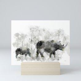 Rhino and Calf Mini Art Print