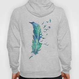The Flight_ Watercolor Faether And Birds Hoody