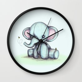 Elephant and Bee Plushie Wall Clock