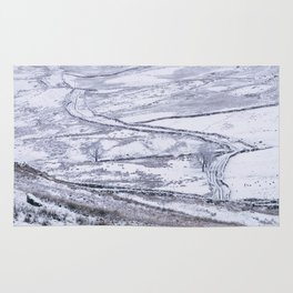 Mountain road covered in snow. 'The Struggle', road to Ambleside from the Kirkstone Pass. Rug