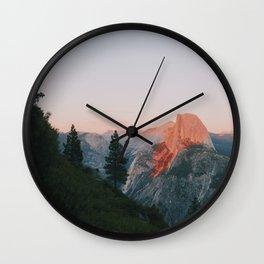 Half Dome Alpenglow Wall Clock