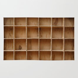 Empty wooden cabinet with cells Rug