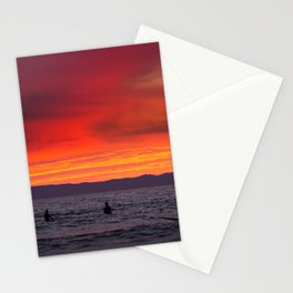 Surfers watching Sunset Stationery Cards