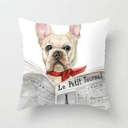 French bulldog with newspaper, bonjour Throw Pillow