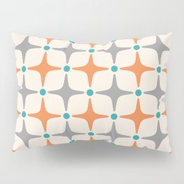 Mid Century Modern Star Pattern Grey and Orange Pillow Sham