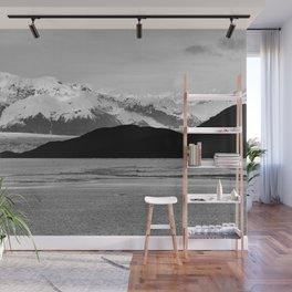 Alaska Glacier Snow Mountains Black And White Wall Mural