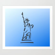 Lady Liberty Blue  Art Print