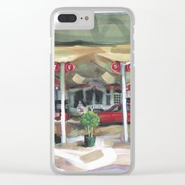 Passing a Palm Beach gas station on a warm winter's afternoon Clear iPhone Case