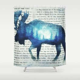 Double Exposure Moose | Night Sky Forest | Trees | Book Page | Vintage Art Shower Curtain