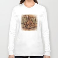 drunk Long Sleeve T-shirts featuring Drunk Sloth by Brian Coldrick