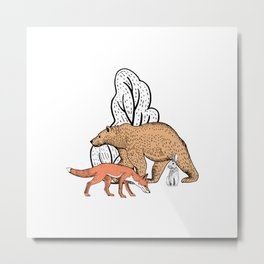 Fantastic forest with bear, rabbit and fox Metal Print