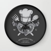chef Wall Clocks featuring MONSTER CHEF by MostrOpi