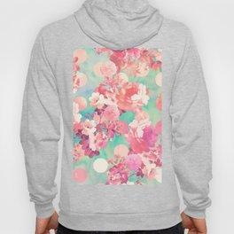 Romantic Pink Retro Floral Pattern Teal Polka Dots Hoody