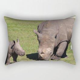 Baby Rhino & Mama Rectangular Pillow