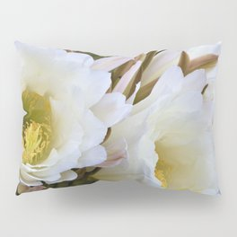 Dreamy Large White Cactus Flowers by Reay of Light Pillow Sham