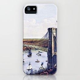 Vintage 19th Century East River Suspension Bridge - Brooklyn Bridge Lithograph iPhone Case
